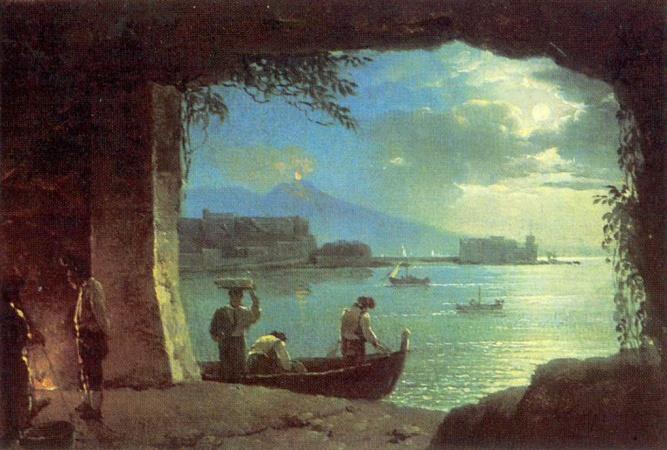 Щедрин Сильвестр Феодосиевич картина 1820-х годов 'Вид из грота на Везувий и Кастелло дель Ово в лунную ночь'