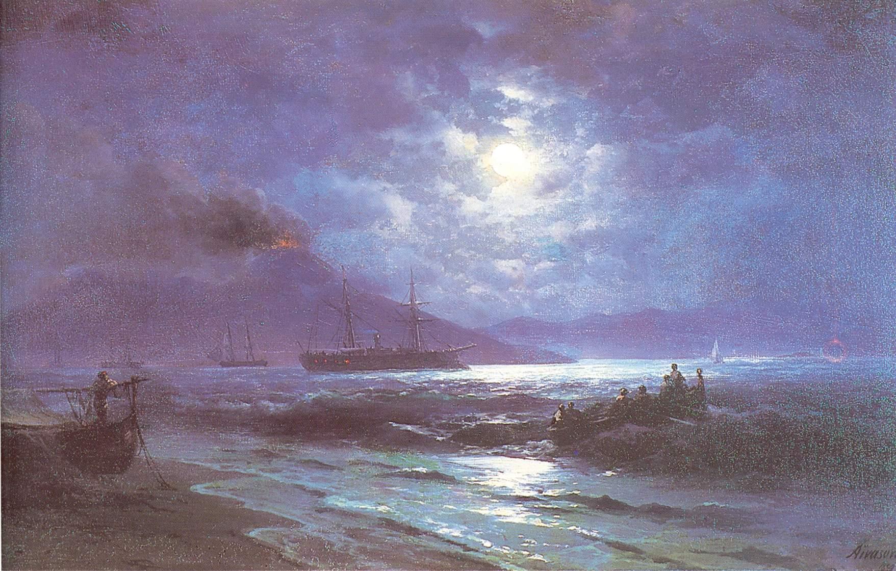 Неаполитанский залив в лунную ночь Ивана Константиновича Айвазовского.